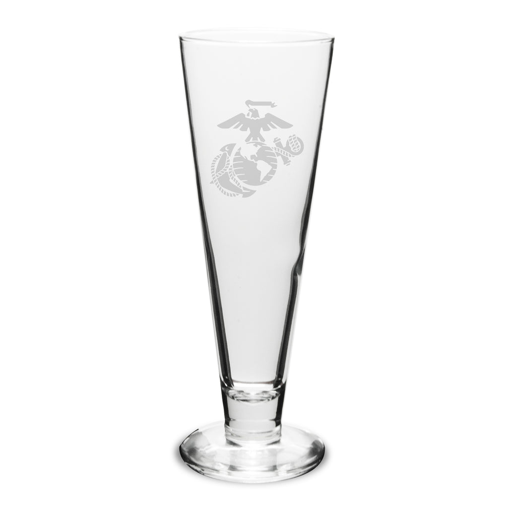 USMC Deep Etched Stylish Pilsners, Set of 2- 7.62 Design