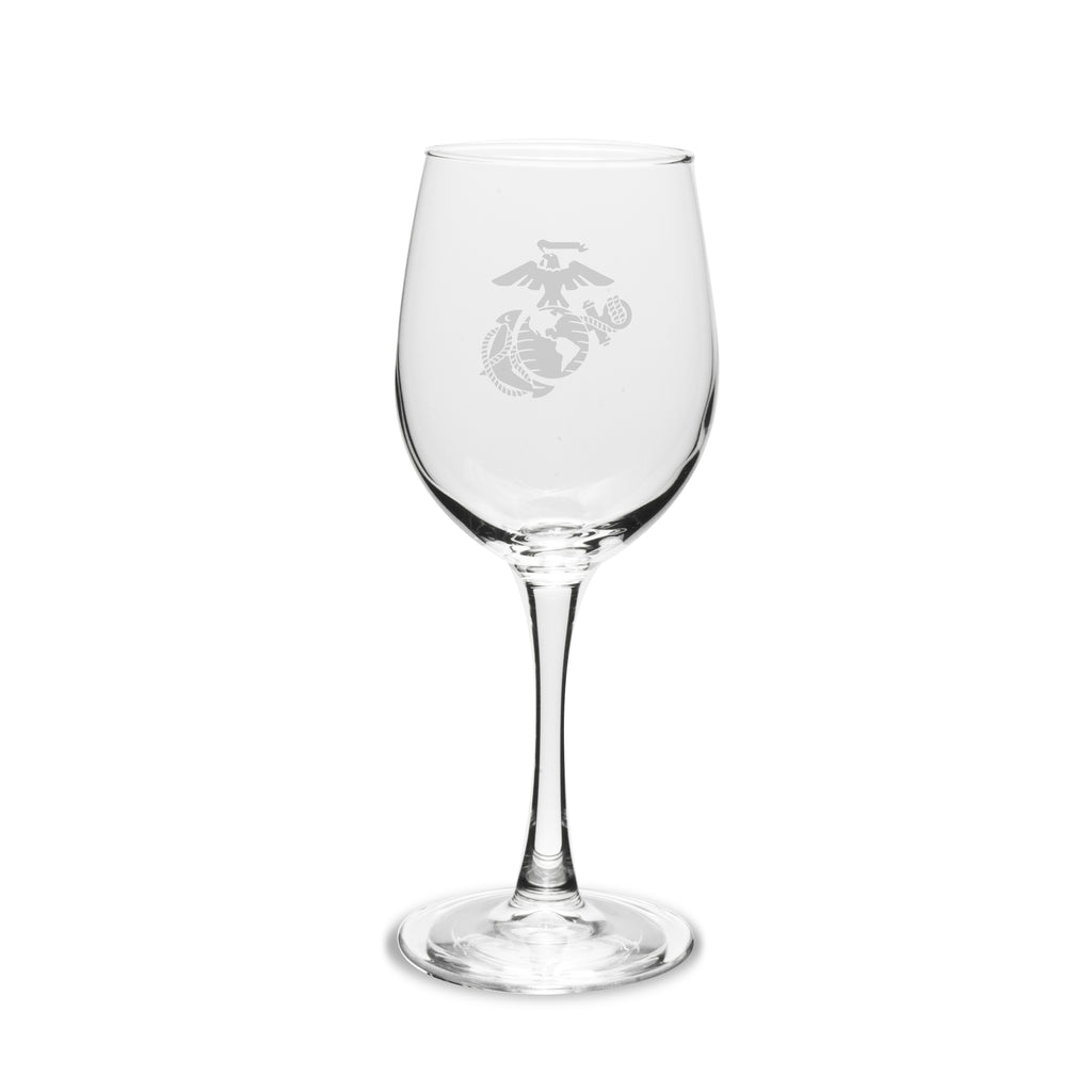 USMC 12 oz Deep Etched White Wine Glasses, Set of 2- 7.62 Design