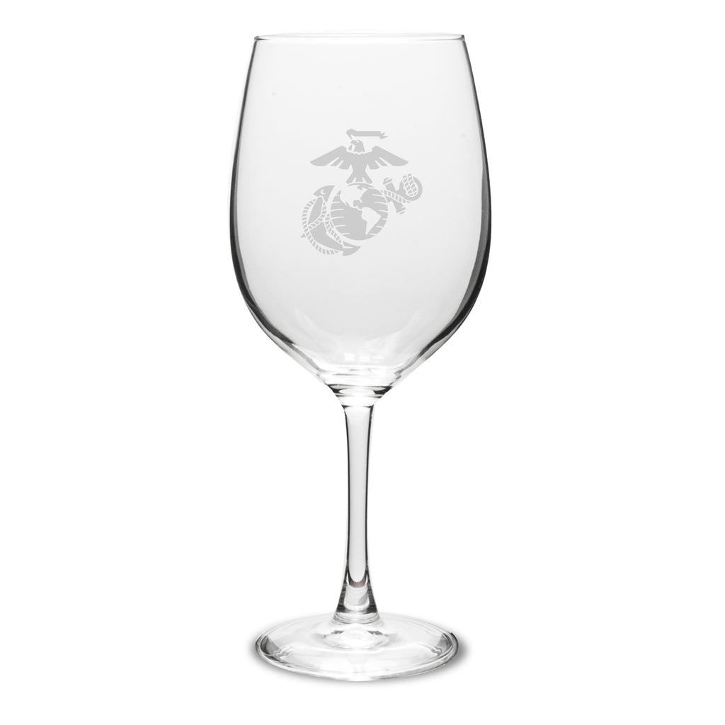 USMC Deep Etched 19oz Red Wine Glasses, Set of 2- 7.62 Design