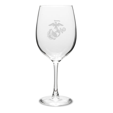 USMC Deep Etched 19oz Red Wine Glasses, Set of 2