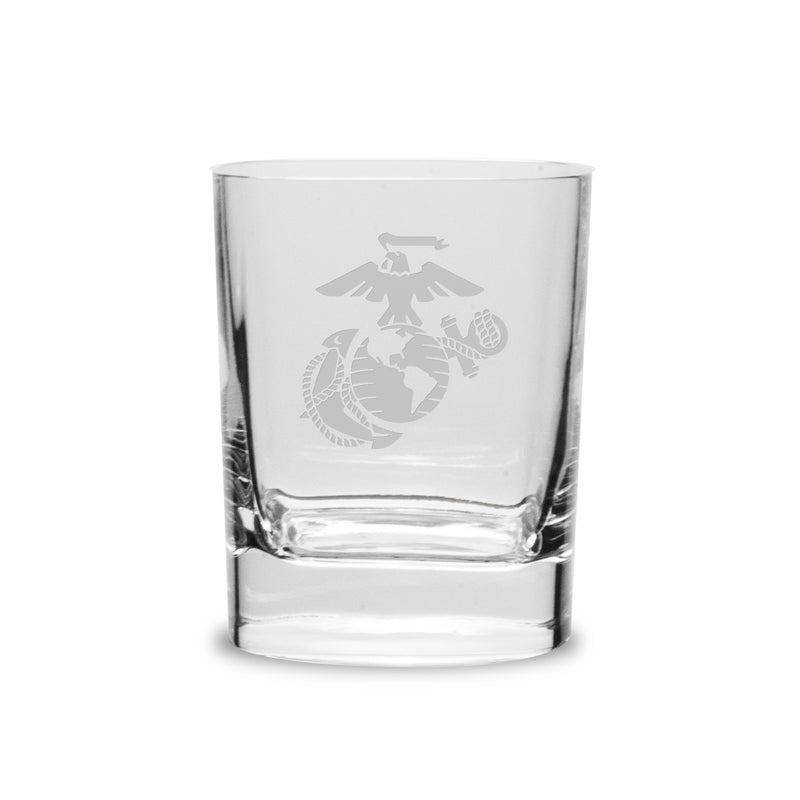 USMC Deep Etched 14oz Square Old Fashion Glasses, Set of 2- 7.62 Design