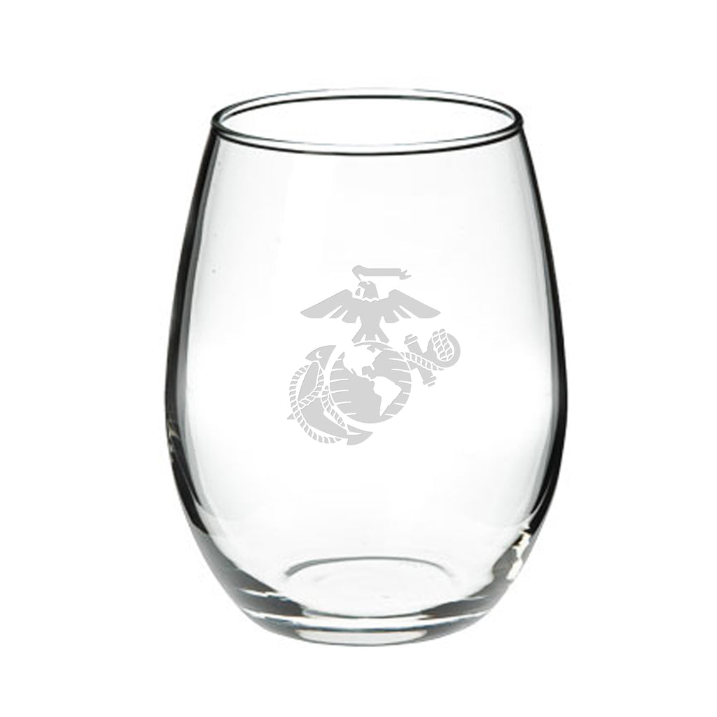 USMC Deep Etched 21oz Stemless Wine Glasses, Set of 2- 7.62 Design