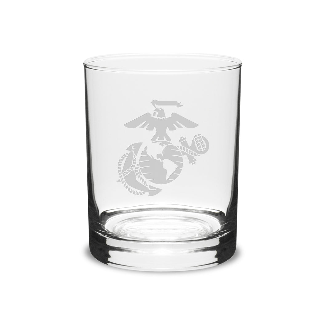 USMC Deep Etched 14oz Traditional Double Old Fashion Glasses, Set of 2- 7.62 Design