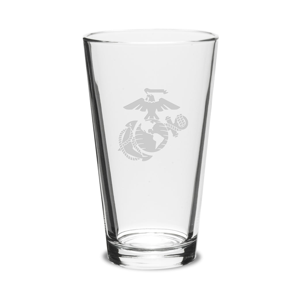 USMC Deep Etched 16oz Pub Mixing Glasses, Set of 2- 7.62 Design