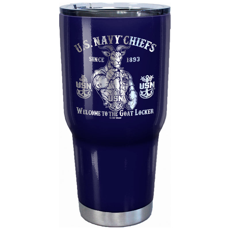 7.62 Design U.S. Navy Chiefs Goat Locker Laser Etched 32oz Travel Mug - Officially Licensed