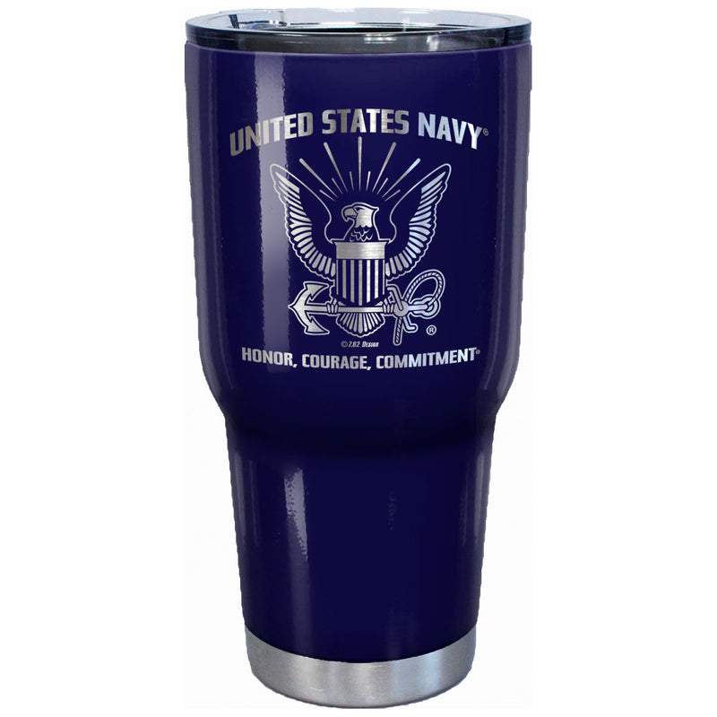 7.62 Design U.S. Navy Logo Laser Etched 32oz Travel Mug - Officially Licensed