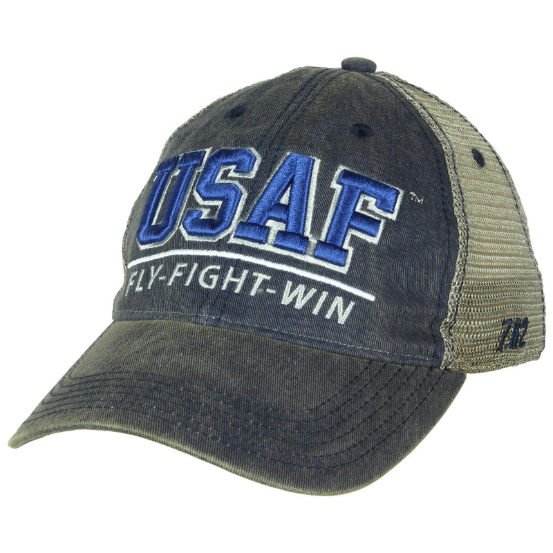 US Air Force 'Fly, Fight, Win' Vintage Trucker Hat