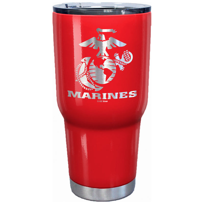 7.62 Design USMC Eagle Globe & Anchor Laser Etched 32oz Travel Mug Red - Officially Licensed