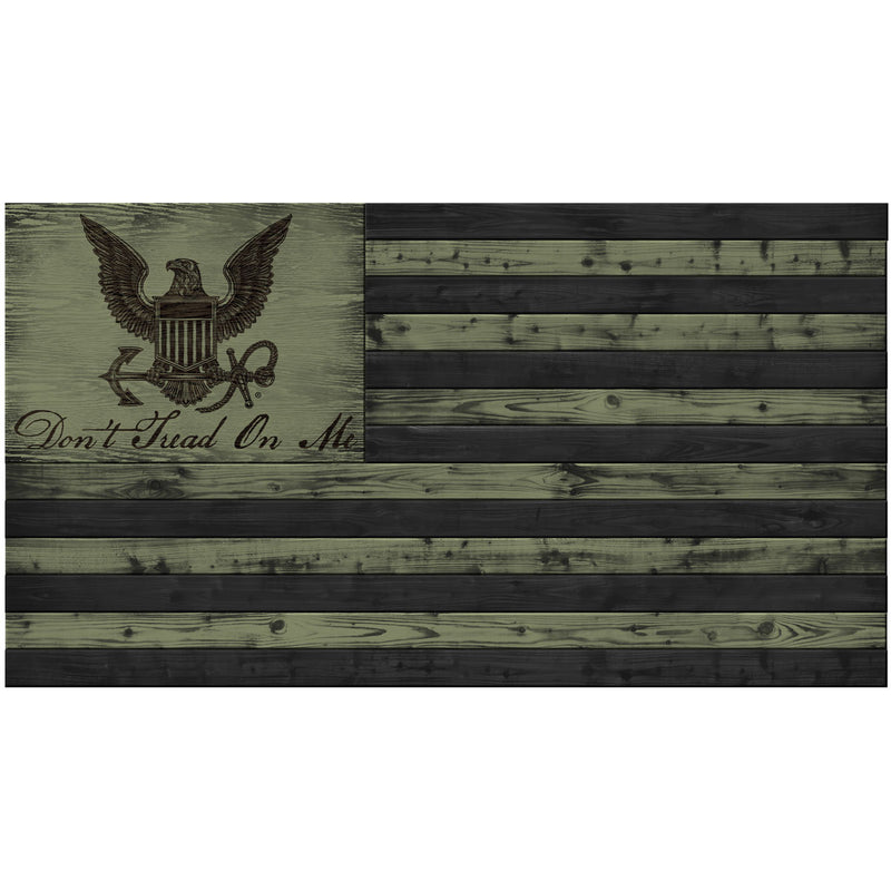 USN Logo Wood Flag