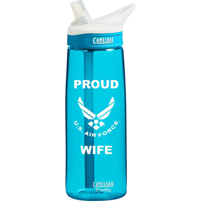 US Air Force Wife .75 Liter Camelbak Eddy Bottle Rain/White- 7.62 Design