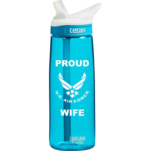 US Air Force Wife .75 Liter Camelbak Eddy Bottle Rain/White