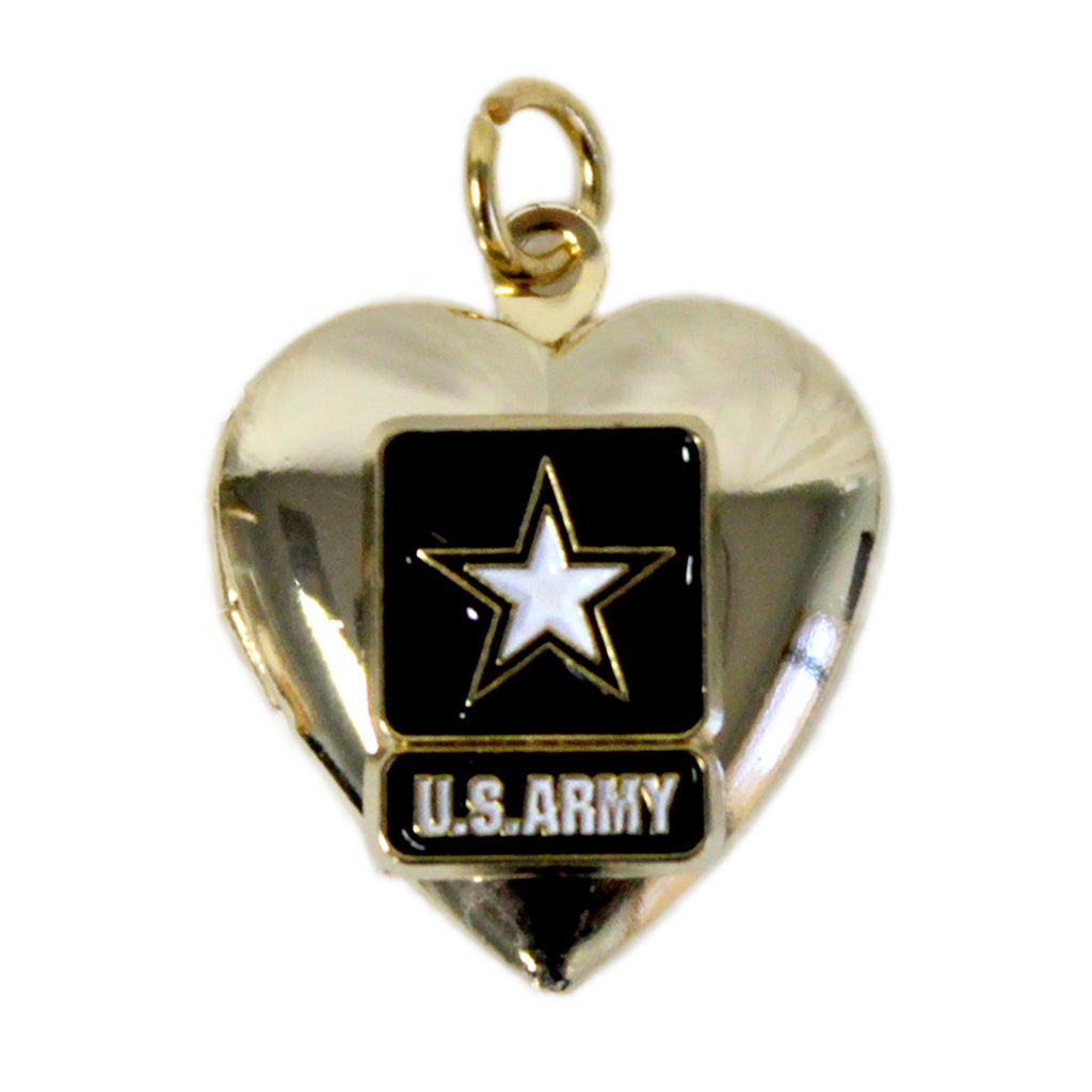Army Heart Pendant Locket Crest Craft Necklace