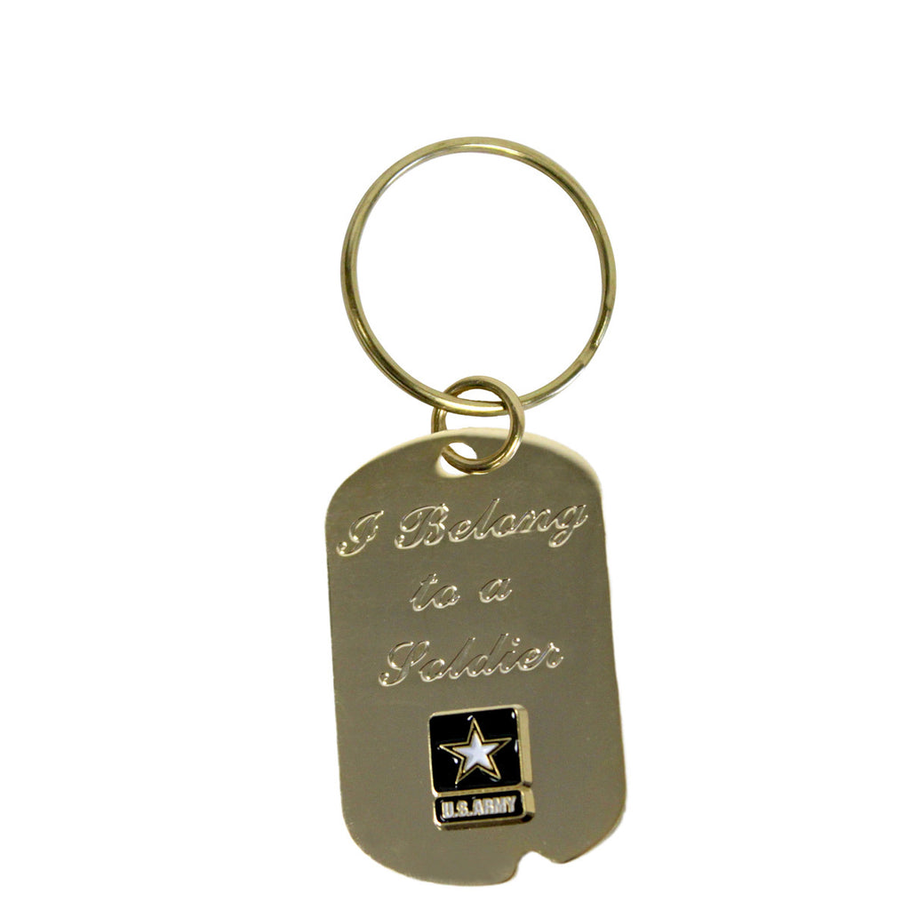 Army 'I Belong To A Soldier' Crest Craft Dog Tag Keychain- 7.62 Design
