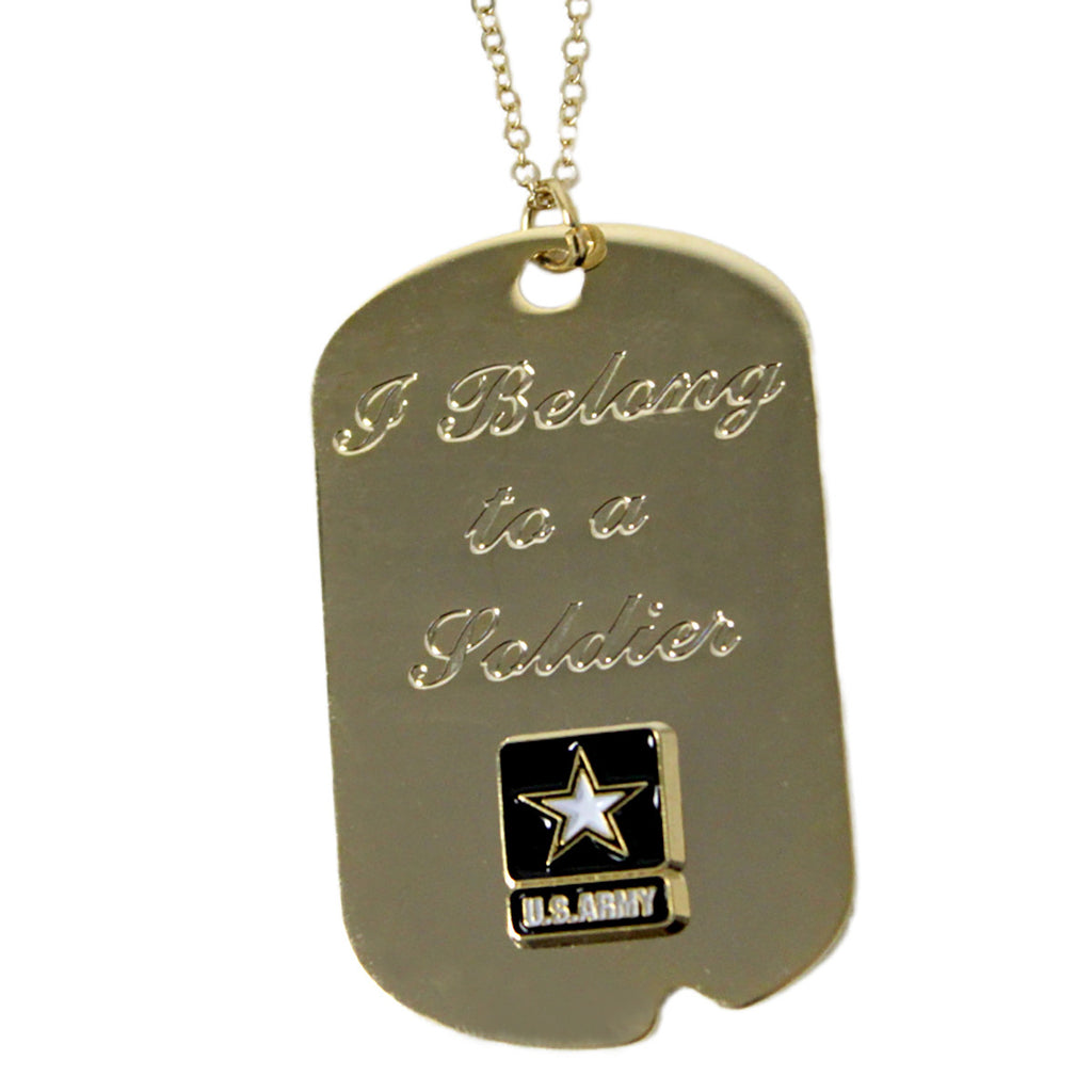Army 'I Belong To A Soldier' Crest Craft Dog Tag Necklace- 7.62 Design