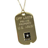 Army 'Off Limits' Crest Craft Dog Tag Necklace- 7.62 Design