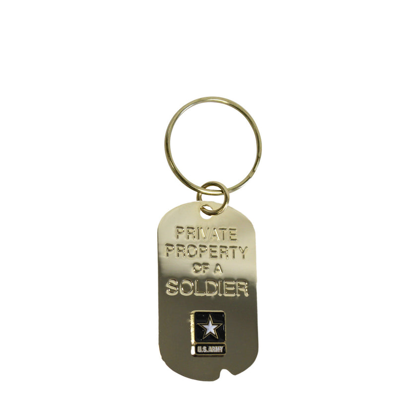 Army 'Property Of A Soldier' Crest Craft Dog Keychain- 7.62 Design