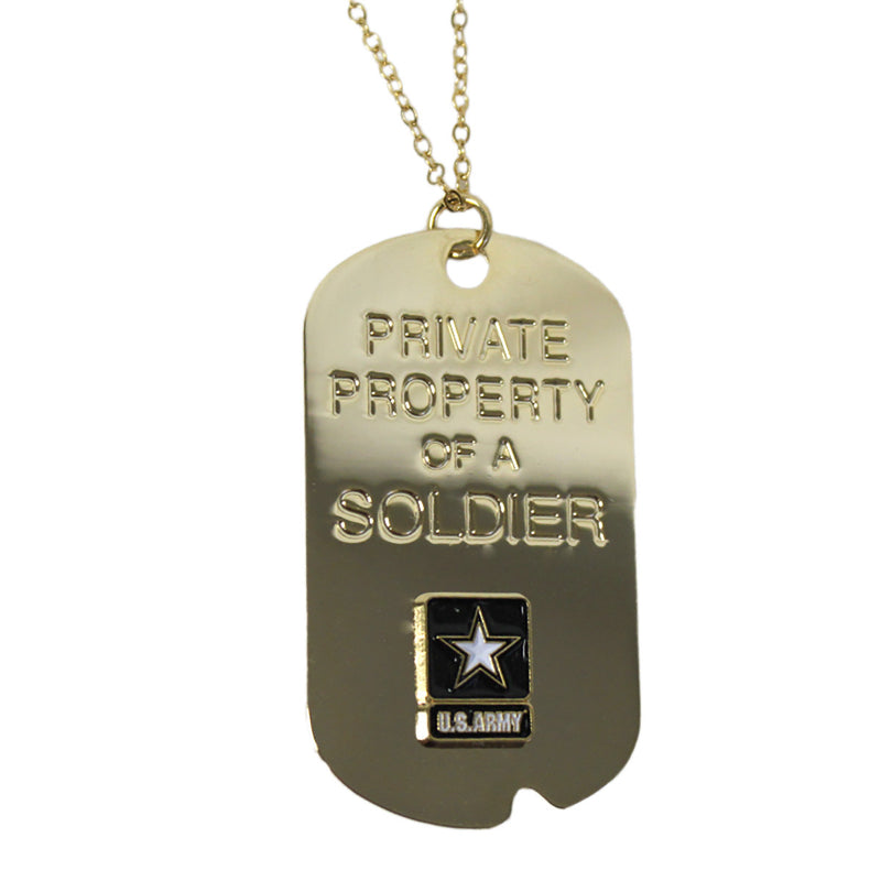 Army 'Property Of A Soldier' Crest Craft Dog Tag Necklace- 7.62 Design