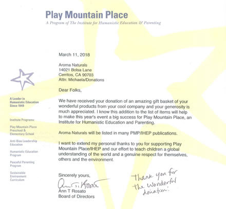 Image of Thank You Letter From Play Mountain Place