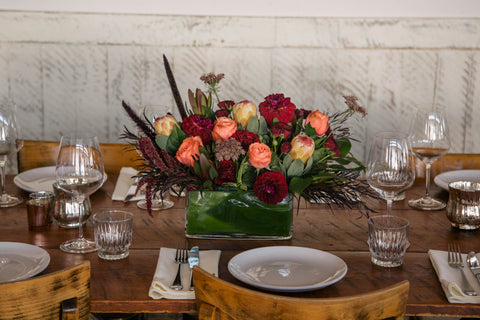 long and low fall thanksgiving floral arrangement