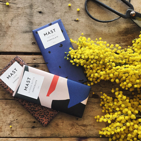 Mast Brothers small-batch, hand-crafted chocolate bars: salted, dark, and almond butter.
