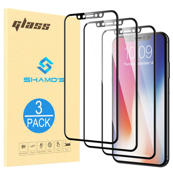 For iPhone XS and iPhone X Screen Protector Tempered Glass Full Cover (3 Pack)