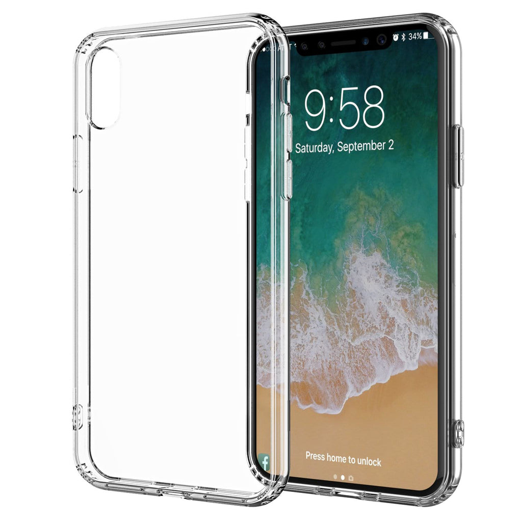 For iPhone XS and X Clear Case TPU Bumpers with Rigid Back