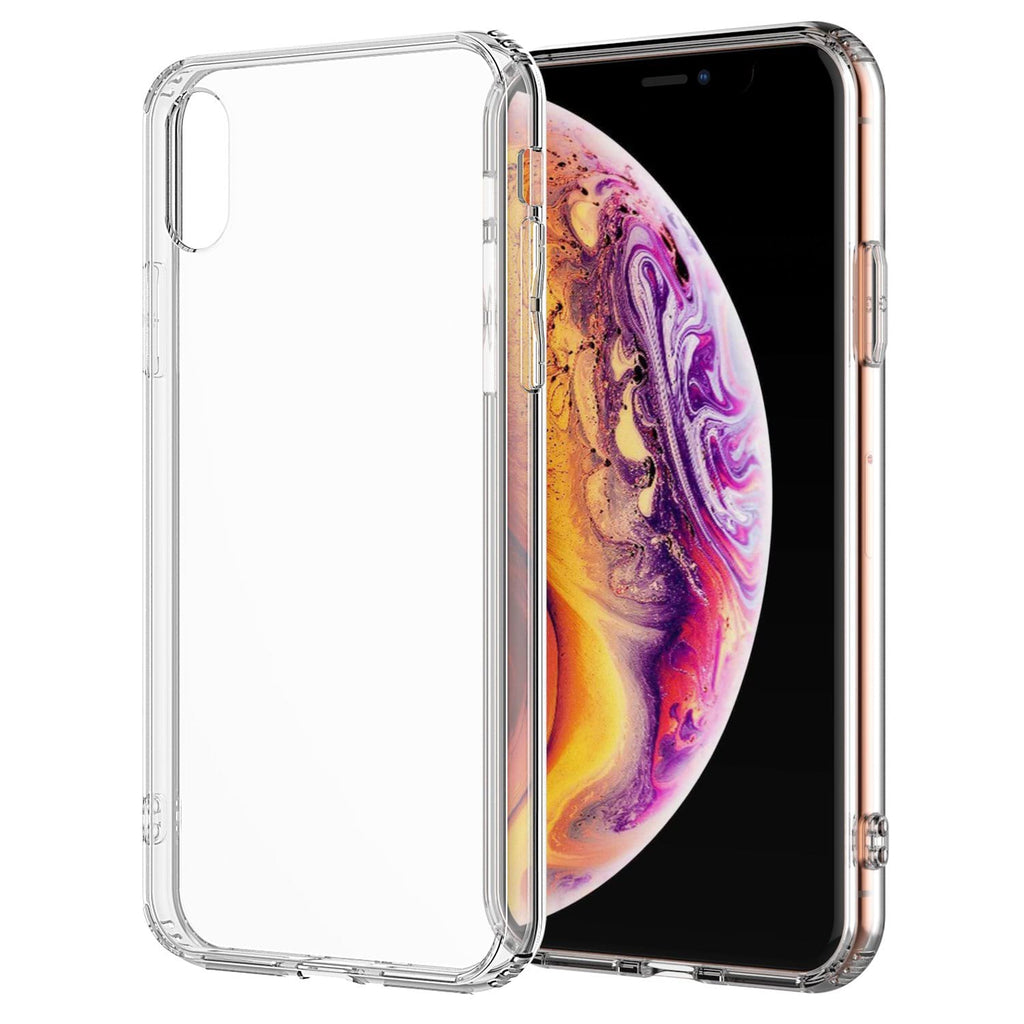 For iPhone XS Max (6.5 inch screen) Clear Transparent Case Shock Absorption TPU Bumpers with Hard Back (Clear)