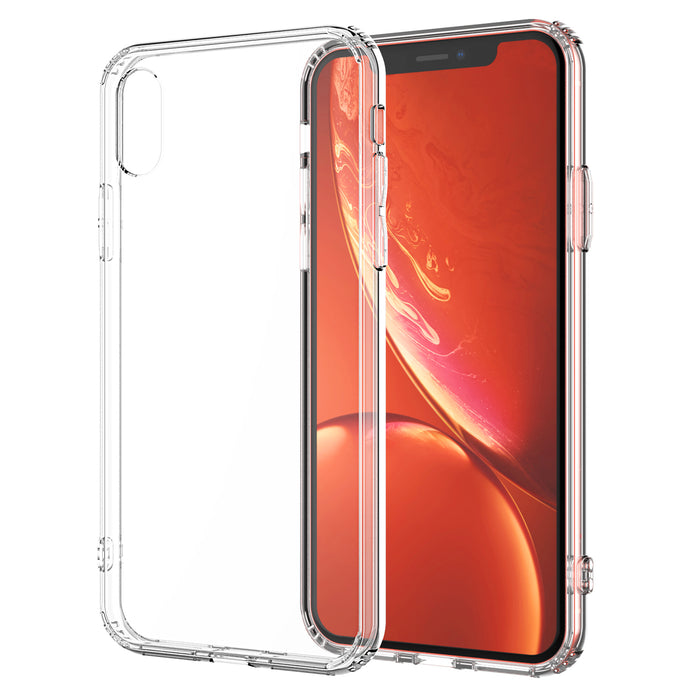 For iPhone XR Clear Transparent Case Shock Absorption TPU Bumpers and Hard Back (Clear) (2018 Model)