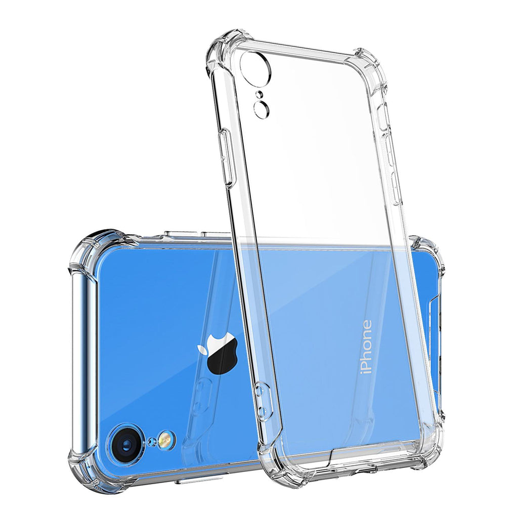 For iPhone XR Crystal Clear Shockproof TPU Bumpers and Anti Scratch Crystal Clear Hard Back Case (Clear)