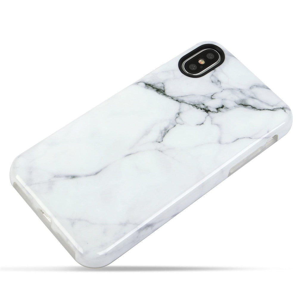 For iPhone XS and iPhone X White Marble Case Shockproof TPU Material