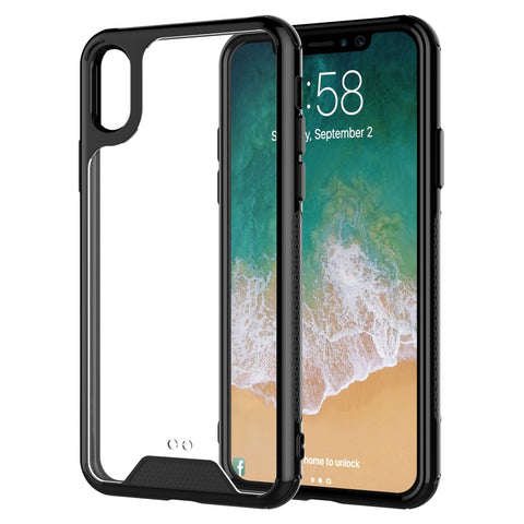For iPhone XS and iPhone X Clear Case TPU Transparent Shockproof Black