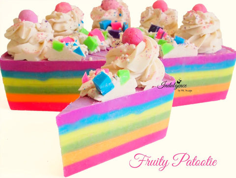 Fruity Patootie Artisan Vegan Soap Cake Slice