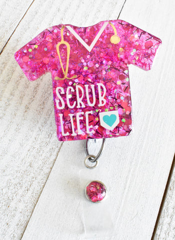 Scrub Life Pink Badge Reel