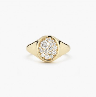 Signet Oval Pave Ring