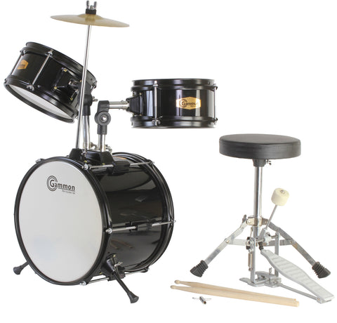Junior Black Drum Set with Cymbal Stool and Sticks