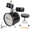 Kids Black Drum Set with Sticks Stool Stands and Cymbal