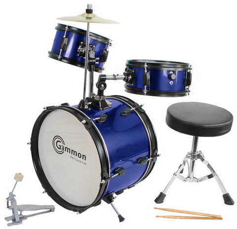 Kids Blue Drum Set with Sticks Stool Stands and Cymbal