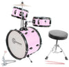 Kids Pink Drum Set with Sticks Stool Stands and Cymbal