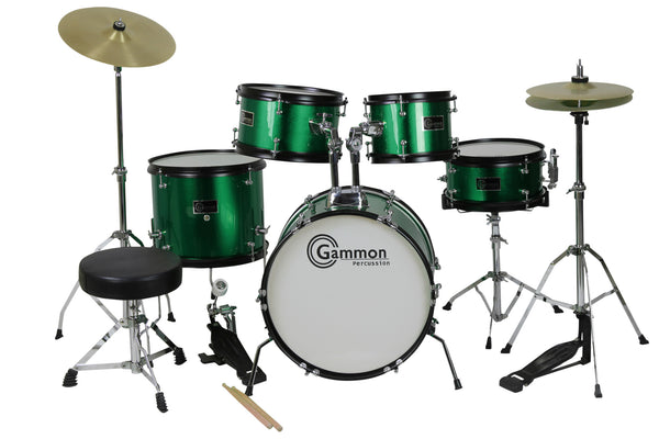 green complete junior drum set with sticks stool hardware and cymbals. Black Bedroom Furniture Sets. Home Design Ideas