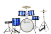 Blue Complete Junior Drum Set With Sticks Stool Hardware and Cymbals