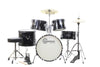 Black Complete Junior Drum Set With Sticks Stool Hardware and Cymbals