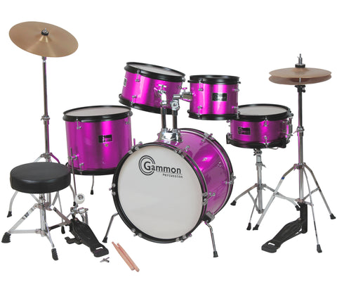 Princess Pink Complete Junior Drum Set With Sticks Stool Hardware and Cymbals