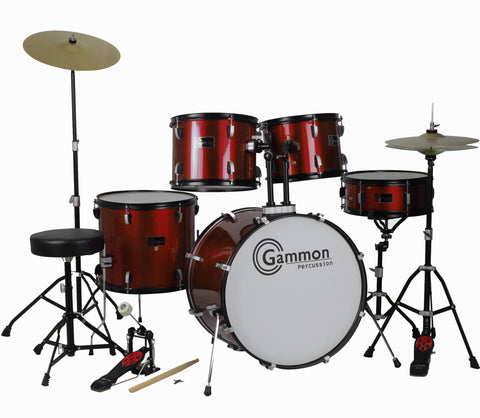 Wine Red  Full Size Complete Drum Set with Stool Sticks Cymbals
