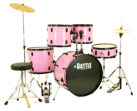 Pink Full Size Complete Drum Set with Stool Sticks Cymbals