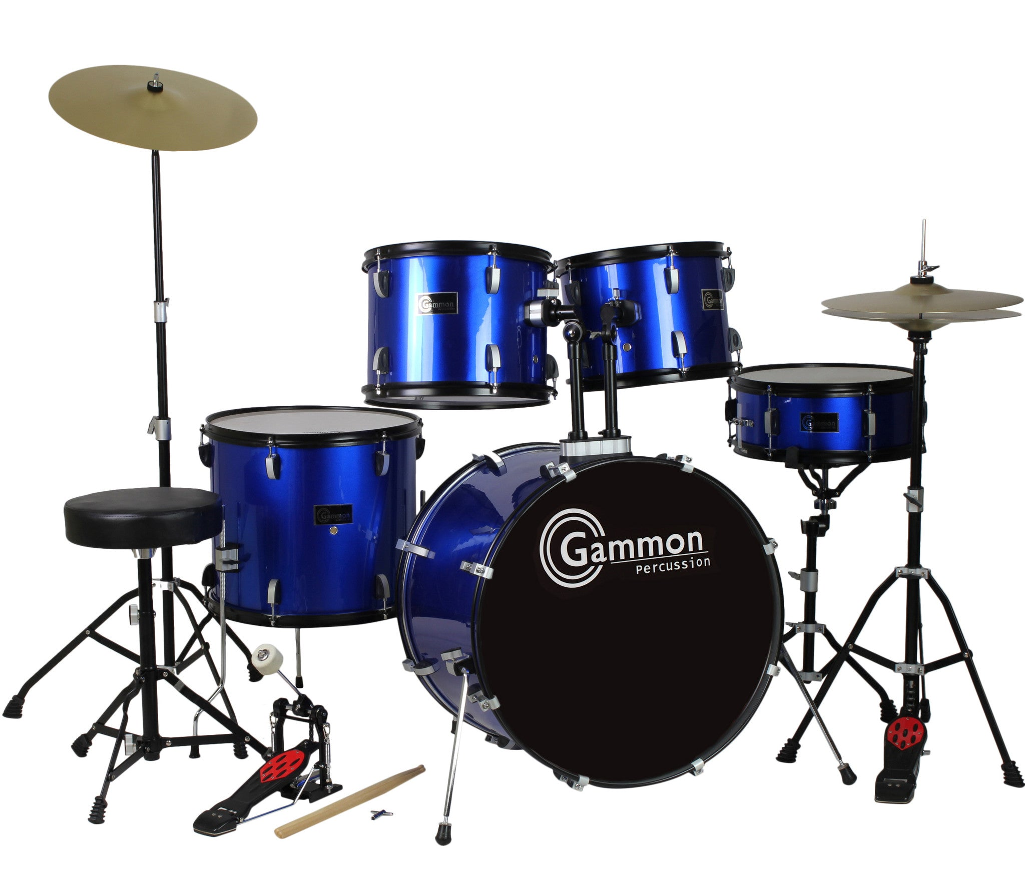 blue full size complete drum set with stool sticks cymbals. Black Bedroom Furniture Sets. Home Design Ideas