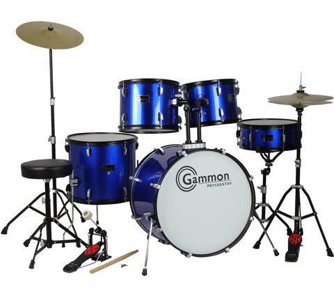 Blue Full Size Complete Drum Set with Stool Sticks Cymbals