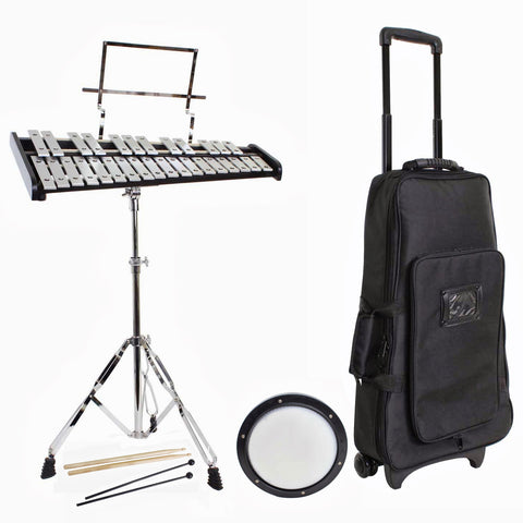 Bell Kit with Rolling Stands Stands Sticks and Practice Pad