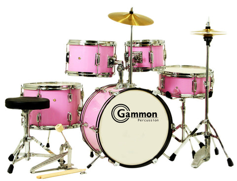 Pink Complete Junior Drum Set With Sticks Stool Hardware and Cymbals