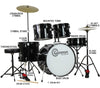 Black Full Size Complete Drum Set with Stool Sticks Cymbals