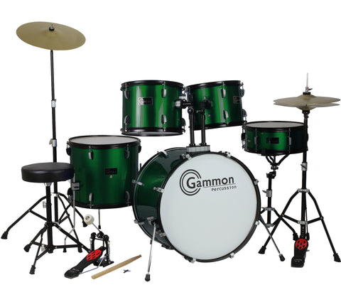 Metallic Green Full Size Complete Drum Set Stool Sticks Cymbals